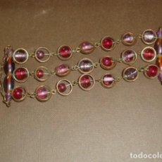 Artesanía: MAGNÍFICA PULSERA. AROS DE METAL Y BOLAS CRISTAL. Lote 214590850