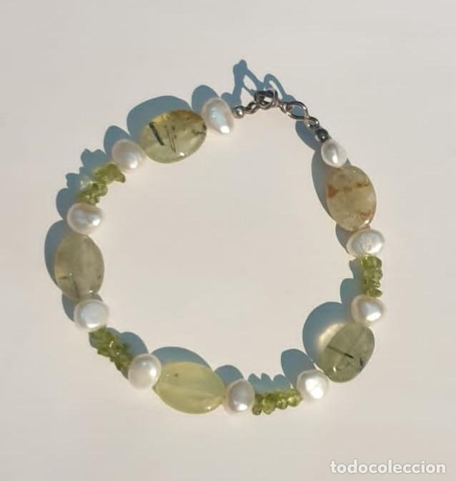 Artesanía: Pulsera Prehnita, perlas, peridoto - Foto 3 - 221876153