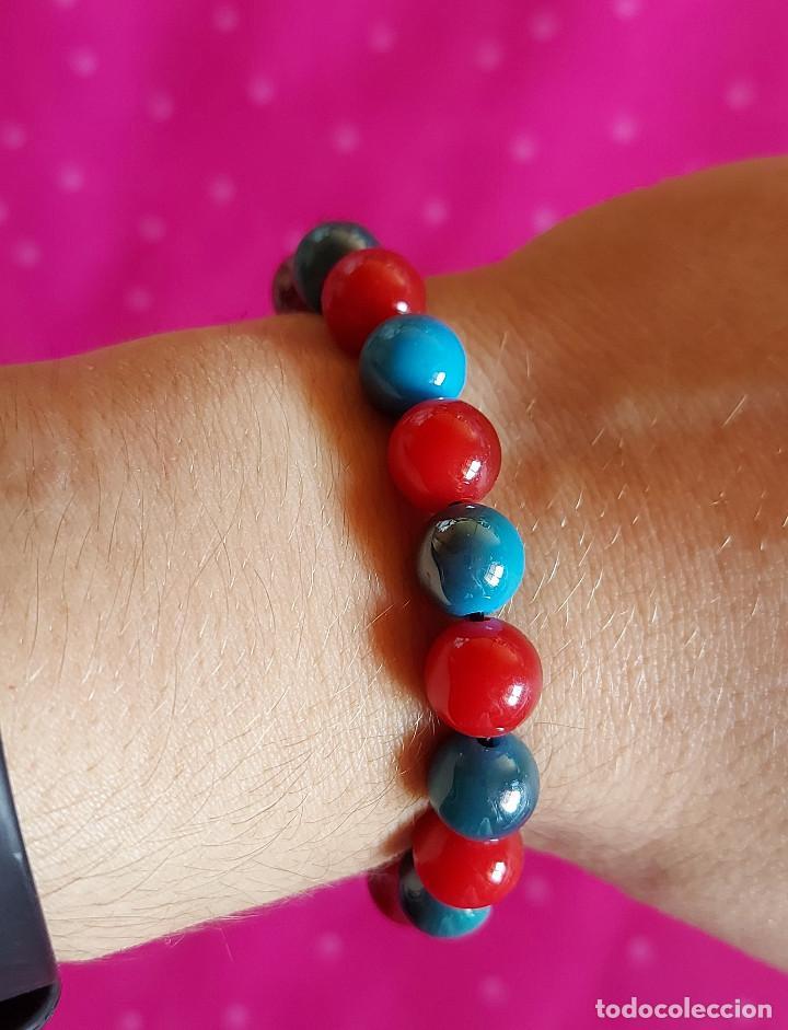 Artesanía: Pulsera bolas rojas y azules - Foto 2 - 143552218