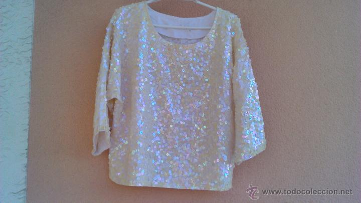Artesanía: Bonita blusa de fiesta con lentejuelas.Las lentejas están cosidas a mano.LAST SCENE.Talla M - Foto 2 - 46001068
