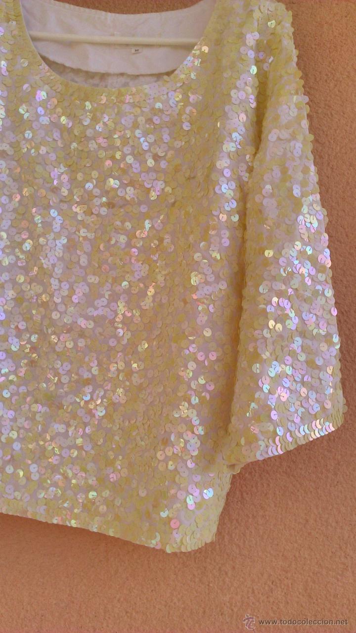 Artesanía: Bonita blusa de fiesta con lentejuelas.Las lentejas están cosidas a mano.LAST SCENE.Talla M - Foto 3 - 46001068