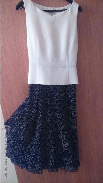 Vestido combinado azul y blanco