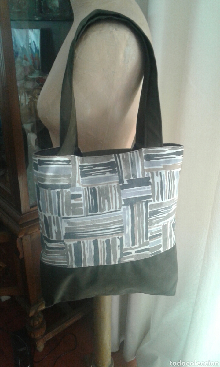 Artesanía: Bolsa tote combinada tela caqui simil ante + estampado tribal de Iaiarose - Foto 2 - 104661031