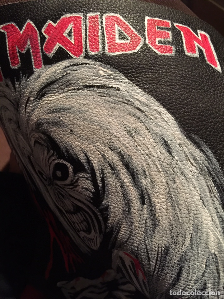 Artesanía: Parche de cuero (piel) pintado a mano. Está barnizado y se puede mojar. Iron Maiden - Foto 5 - 140635633