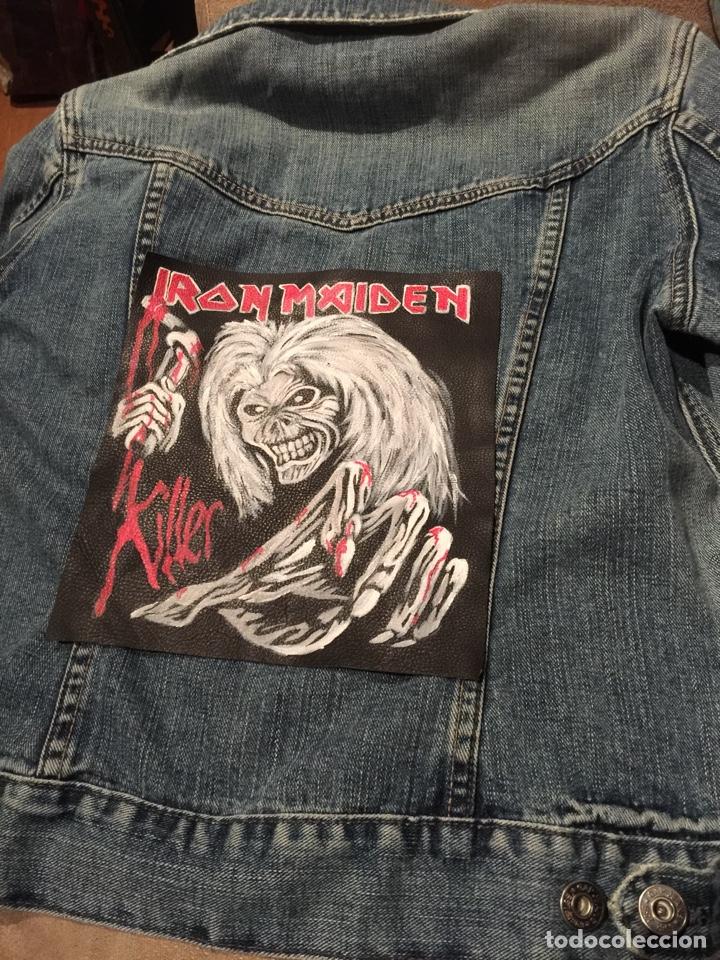 Artesanía: Parche de cuero (piel) pintado a mano. Está barnizado y se puede mojar. Iron Maiden - Foto 6 - 140635633