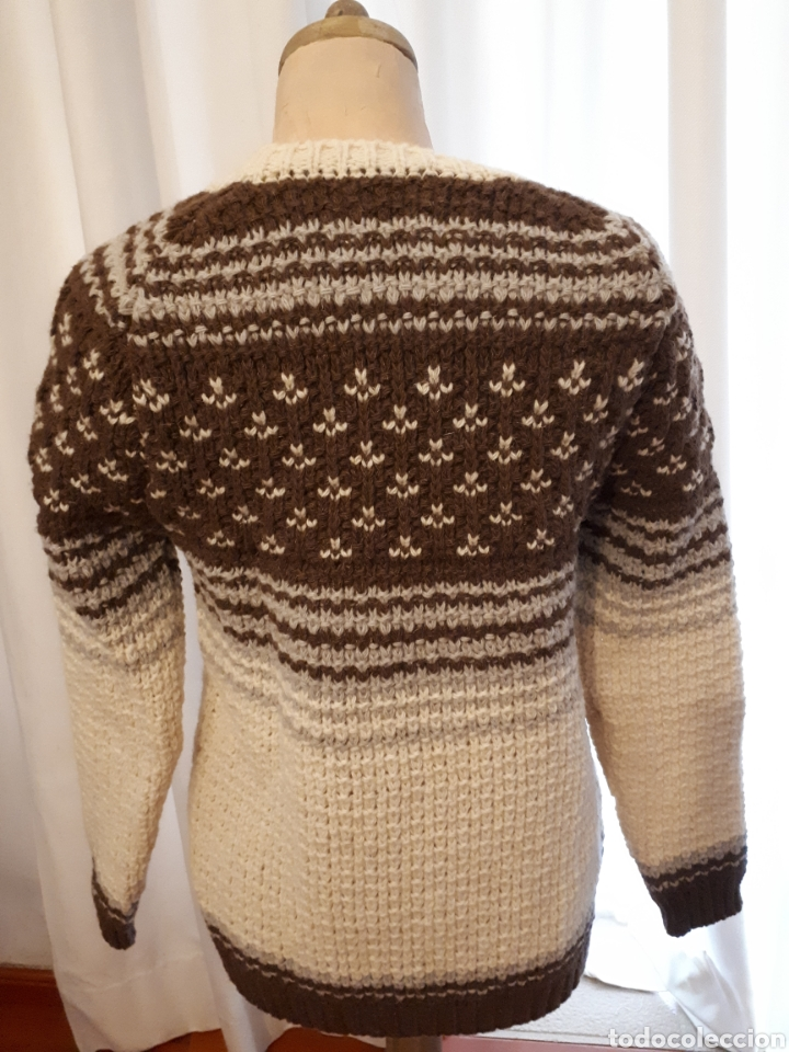 Artesanía: Jersey unisex 100% lana natural oveja xisqueta Pirineus jacquard rayas y estrellas - Foto 2 - 232479525
