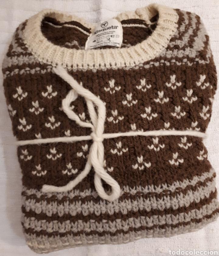 Artesanía: Jersey unisex 100% lana natural oveja xisqueta Pirineus jacquard rayas y estrellas - Foto 3 - 232479525