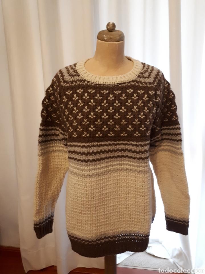 Artesanía: Jersey unisex 100% lana natural oveja xisqueta Pirineus jacquard rayas y estrellas - Foto 7 - 232479525