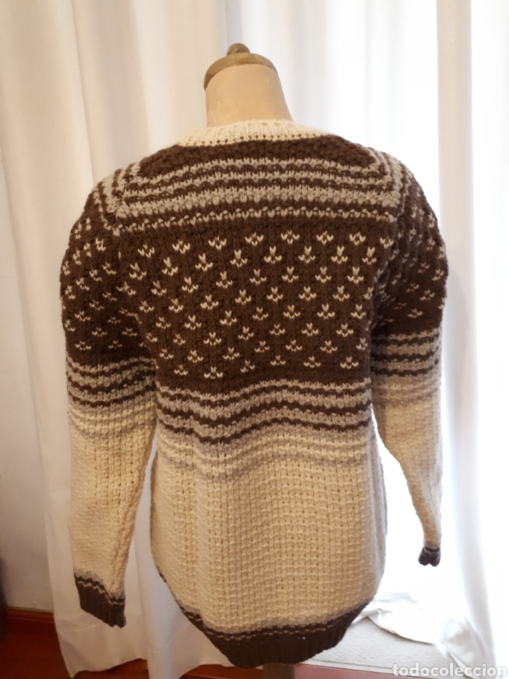 Artesanía: Jersey unisex 100% lana natural oveja xisqueta Pirineus jacquard rayas y estrellas - Foto 8 - 232479525