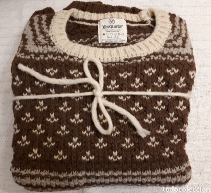 Artesanía: Jersey unisex 100% lana natural oveja xisqueta Pirineus jacquard rayas y estrellas - Foto 9 - 232479525