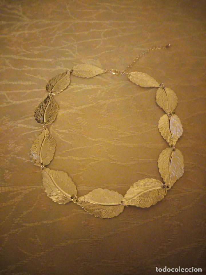 Artesanía: Bonita gargantilla de metal plateado hojas engarzadas. - Foto 2 - 159901330