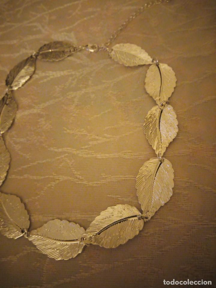 Artesanía: Bonita gargantilla de metal plateado hojas engarzadas. - Foto 3 - 159901330