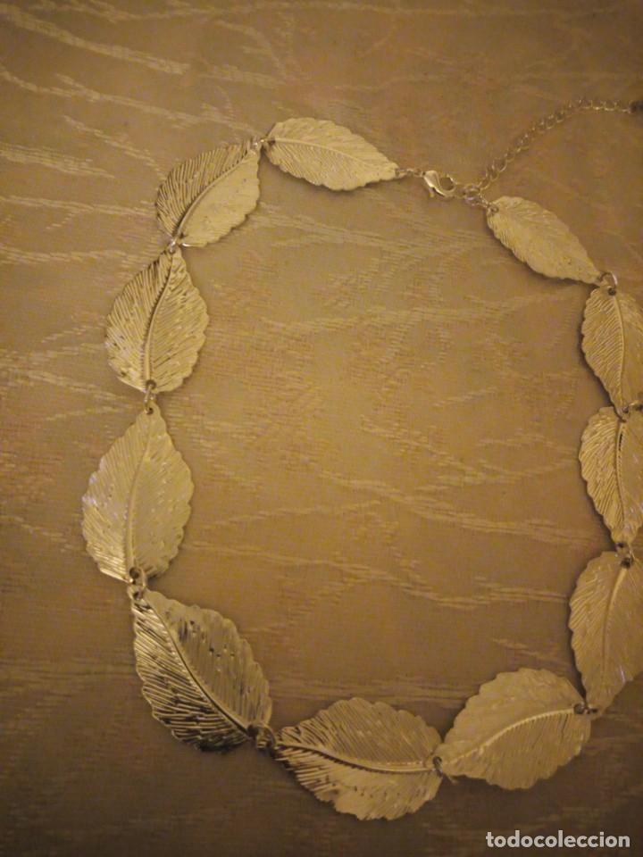 Artesanía: Bonita gargantilla de metal plateado hojas engarzadas. - Foto 4 - 159901330