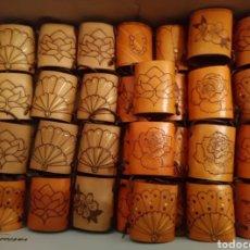 Artesanía: PORTABANICOS CUERO, PIEL PIROGRABADA, ARTESANÍA. Lote 180150601