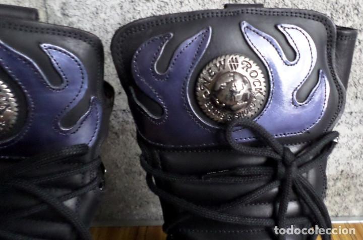 Artesanía: BOTAS DE CUERO CON METALES NEW ROCK Nº 41 - De color negro con morado - sin usar - Foto 4 - 188819742