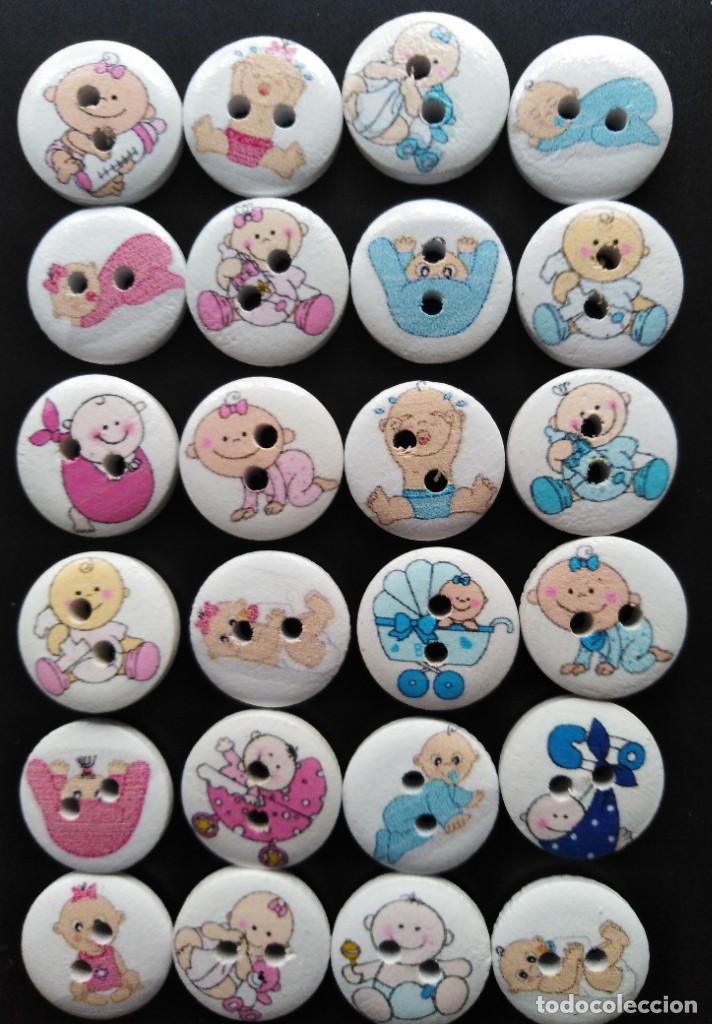 25 BOTONES DE MADERA CON DIBUJOS INFANTILES DE 15 MM (Artesanía - Ropa y complementos)