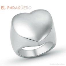 Artesanía: SELLO CORAZON DE ORO BLANCO DE 18 KILATES LAMINADO - TALLA 9 - PESA 20 GRA Nº862. Lote 215674086