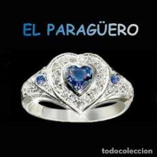 Artesanía: SORTIJA CORAZON DE ORO BLANCO DE 18 KILATES LAMINADO CON ZAFIROS - TALLA 9 - PESA 4 GRA Nº871. Lote 215676071
