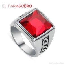 Artesanía: SELLO SORTIJA DE ORO BLANCO DE 18 KILATES LAMINADO CON RUBI - TALLA 8 - PESA 12 GRA Nº876. Lote 215676795