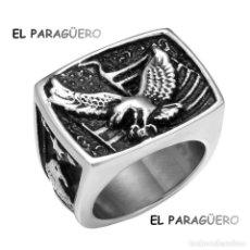 Artesanía: SORTIJA SELLO AGUILA DE ORO BLANCO DE 18 KILATES LAMINADO -TALLA 9 - PESA 20 GRA Nº885. Lote 215677856