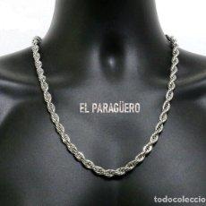 Artesanía: CORDON RIZADO DE ORO BLANCO DE 18 KILATES LAMINADO - MIDE 59 X 0,5 CM PESA 48 GRAMOS - Nº4. Lote 216629346