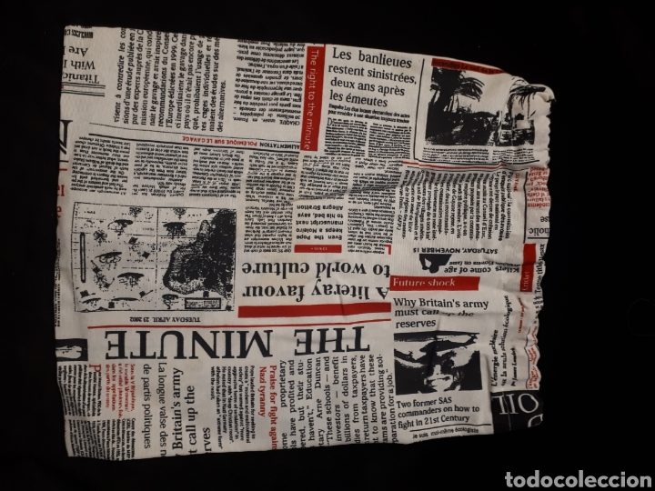 Artesanía: Bolsa cuerda tela artesanal estampado periódico de Iaiarose - Foto 2 - 235335595