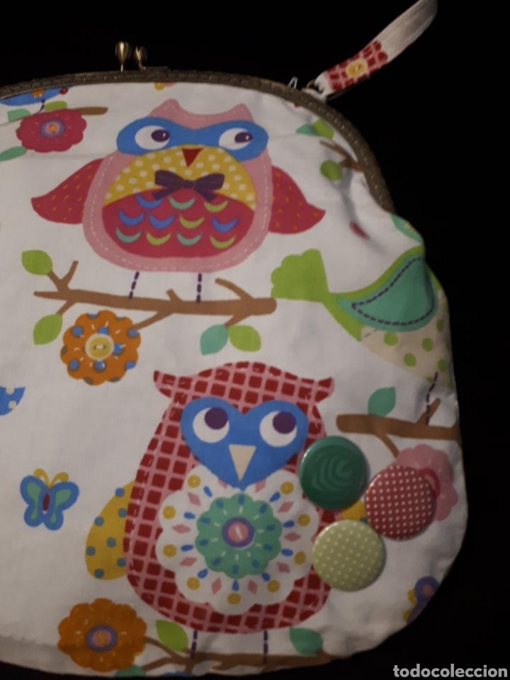 Artesanía: Bolso tela artesanal artesanal estampado búhos de Iaiarose con boquilla. - Foto 2 - 235338425