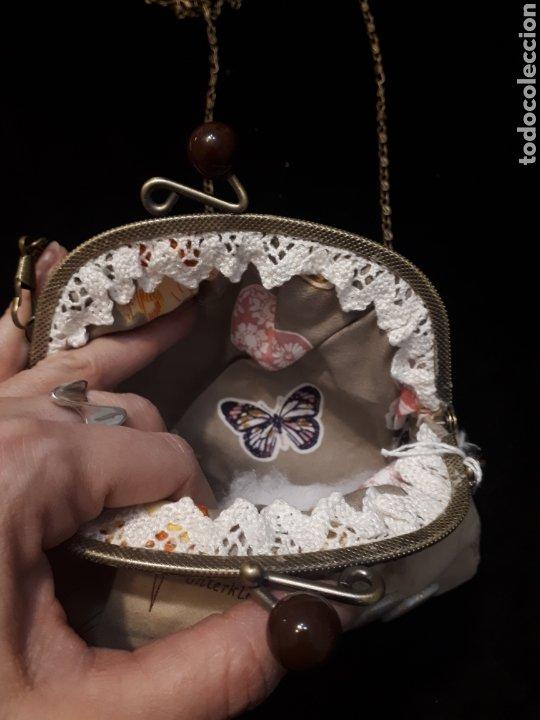 Artesanía: Bolso tela artesanal estampado hoja patrón de Iaiarose con boquilla y cadena. - Foto 2 - 235340445