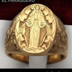 Artesanía: ANILLO SELLO DE LA VIRGEN DE ORO AMARILLO DE 24 KILATES LAMINADO - PESO 7 GRAMOS TALLA 9 - Nº1043. Lote 238133045