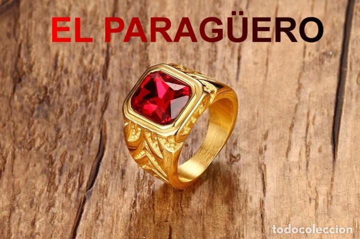 SORTIJA SOLITARIO DE DE ORO AMARILLO DE 24 KILATS LAMINADO-CON RUBI-PESO 16 GRAMS TALLA 11-N1082 (Artesanía - Ropa y complementos)