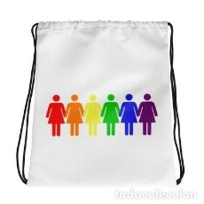 Artesanía: MOCHILA BLANCA CON CORDONES ORGULLO GAY LGTB LESBIANA DISEÑO. Lote 246386470