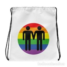 Artesanía: MOCHILA BLANCA CON CORDONES ORGULLO GAY LGTB LESBIANA DISEÑO FIESTA FESTIVAL CUP. Lote 246386670