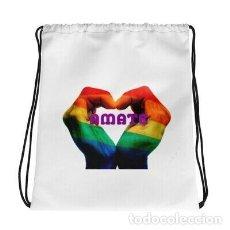 Artesanía: MOCHILA BLANCA CON CORDONES ORGULLO GAY LGTB LESBIANA DISEÑO ÁMATE. Lote 246410080