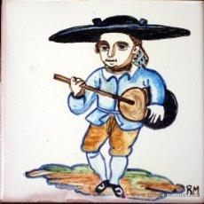 Artesanía: AZULEJO PINTADO A MANO. TOCADOR DE ZAMBOMBA. Lote 5311316