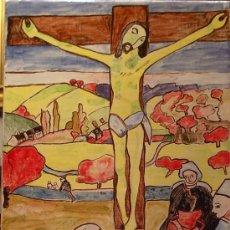 Artesanía: EL CRISTO AMARILLO. AZULEJO PINTADO A MANO.. Lote 14326115