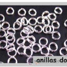 Artesanía: LOTE DE 50 ANILLAS DOBLE DE PLATA DE 4MM. Lote 133924085