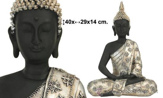 Decoracion figura buda negro plateado comprar artesan a en todocoleccion 32114978 - Figuras buda decoracion ...