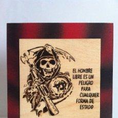 Artesanía: PIROGRABADO A FUEGO EN CUADRO DE MADERA ANARKIA. Lote 37325974