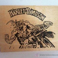 Artesanía: HARLEY DAVIDSON PIROGRABADO CON FUEGO EN MADERA HANDMADE. Lote 37867862