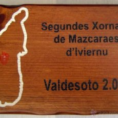 Artesanía: CUADRO MADERA CONMEMORATIVO: SEGUNDES XORNAES DE MAZCARAES D'INVIERNU VALDESOTO 2009. ASTURIAS. Lote 39546329