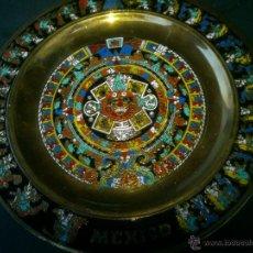 Artesanía: PLATO DE BRONCE PINTADO MEXICO. Lote 46917596