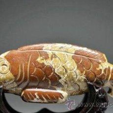 Artesanía: ORIGINAL PEZ TALLADO A MANO EN JADE MARRON. Lote 50497095