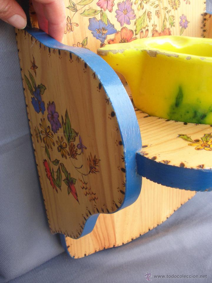 Artesanía: Decoración vintage Soporte madera para colgar bolsa del pan en cocina , panera colgante pirograbada - Foto 3 - 53843051