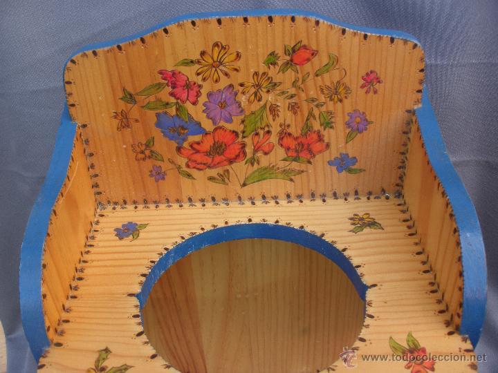 Artesanía: Decoración vintage Soporte madera para colgar bolsa del pan en cocina , panera colgante pirograbada - Foto 5 - 53843051