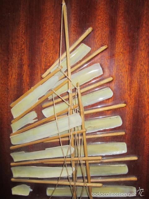 Artesanía: Barco velero hecho de conchas, sobre madera. Todo artesanal. 25,5 x 50 cms. altura. - Foto 2 - 56272590