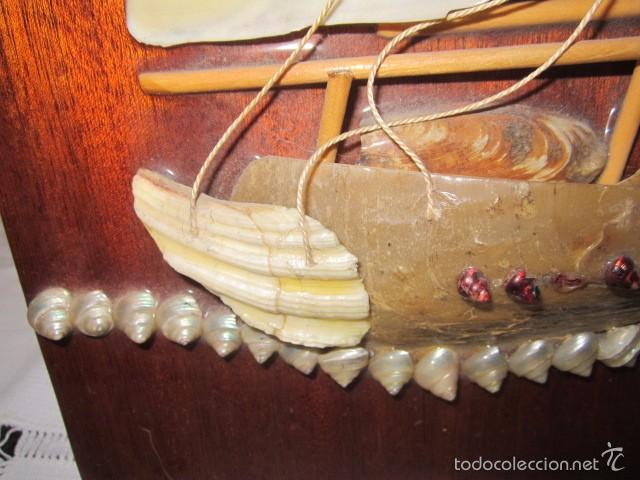 Artesanía: Barco velero hecho de conchas, sobre madera. Todo artesanal. 25,5 x 50 cms. altura. - Foto 4 - 56272590