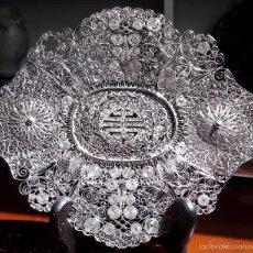 Artesanía: BANDEJA EN FILIGRANA EN PLATA DE LEY.CHINA. POR LONGEVIDAD 16.5CMX14CMX1.5CM. Lote 58552790