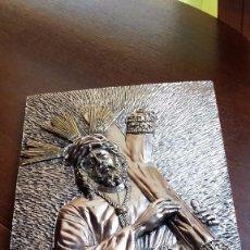 Artesanía: RETABLO DEL CRISTO DEL GRAN PODER REPUJADO EN PLATA IMPRESIONANTE RELIEVE MUY ANTIGUO VER FOTOS. Lote 125377122