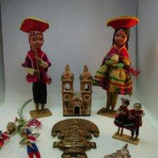 Artesanía: GRAN LOTE DE 7 ARTESANÍAS Y SOUVENIRS PERUANOS - IGLESIA DE BARRO, MUÑECOS, FIGURA DECORATIVA, ETC... Lote 84299064