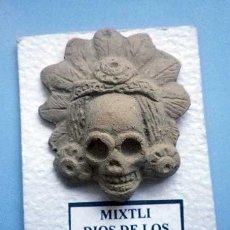 Artisanat: CABEZA ARCILLA COCIDA DE MIXTLI DIOS AZTECA DE LOS MUERTOS, POSIBLEMENTE MADE IN MEXICO AÑOS 90-00. Lote 100396723